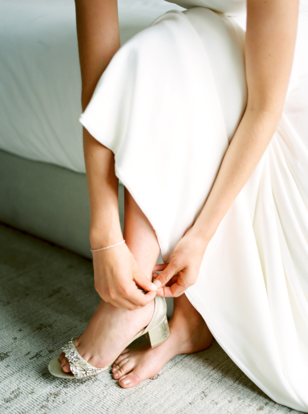 Bride in Badgley Mischka Shoes