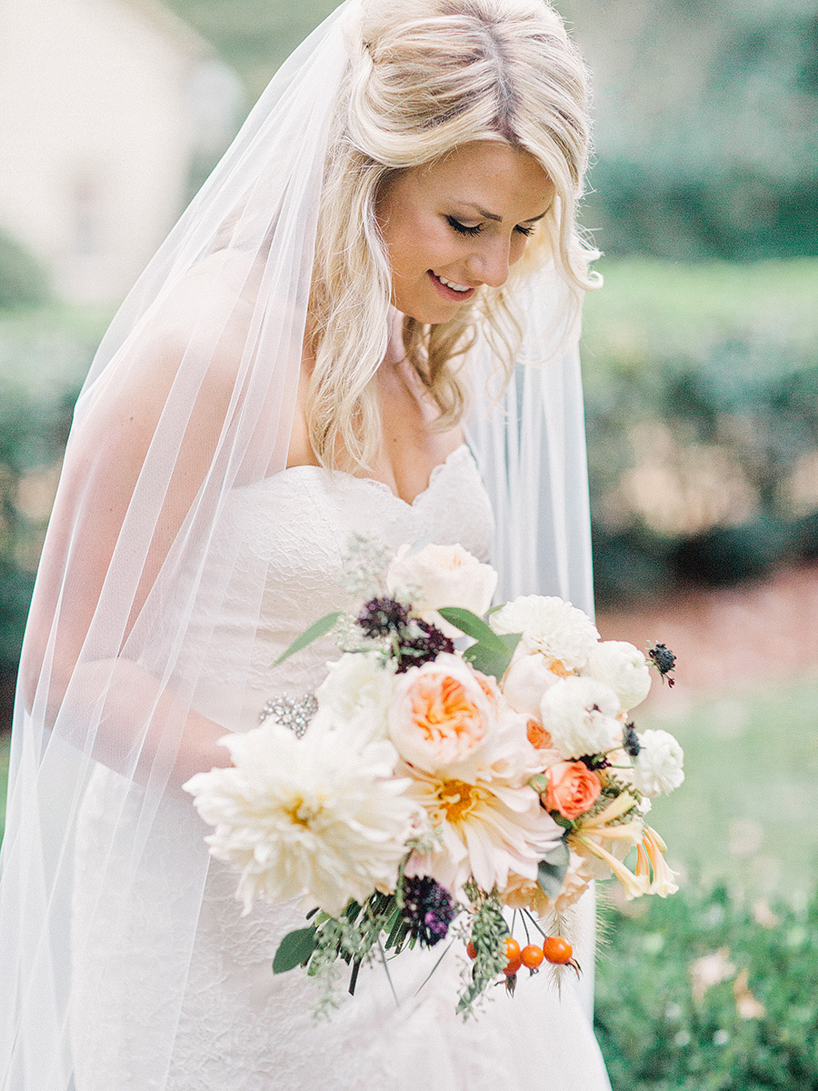 Bride with Fall Bouquet