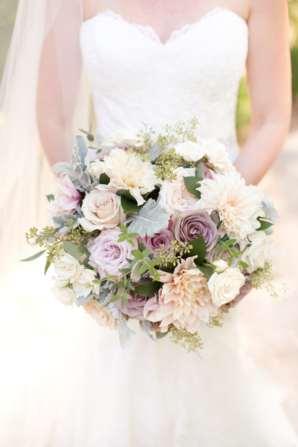 Bride with Ivory and Purple Bouquet