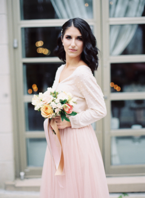 Bridesmaid in White Cardigan