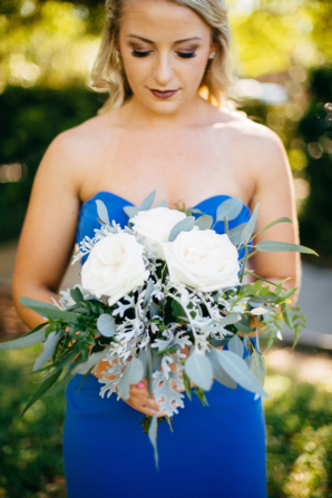 Bridesmaid with White Rose Bouquet