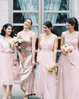 Bridesmaids in Blush and Metallic Dresses