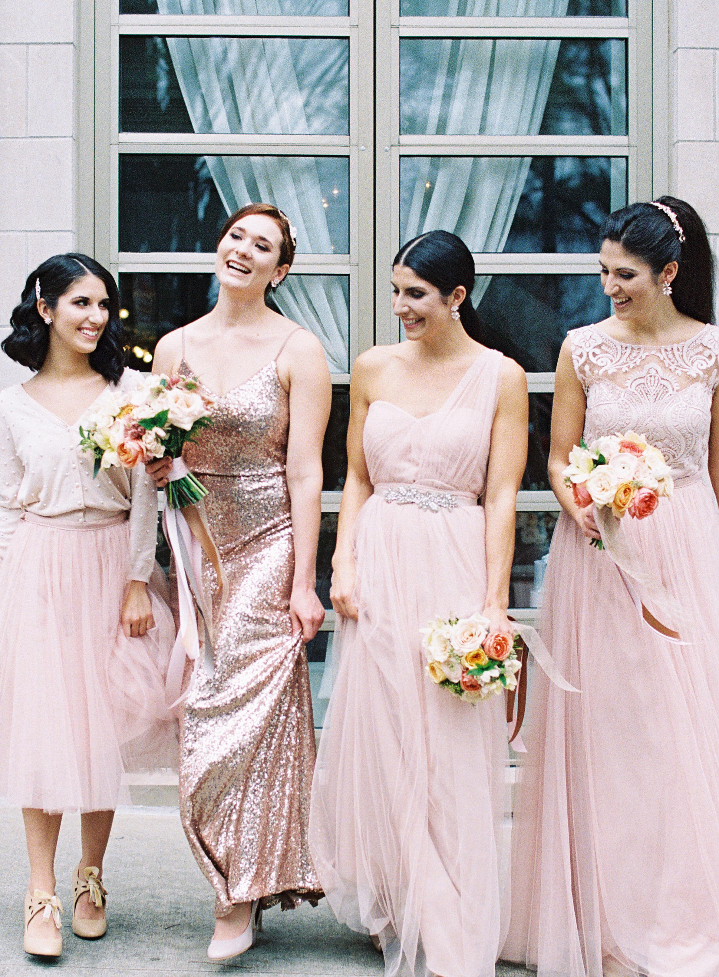 Bridesmaids in Blush and Metallic Dresses