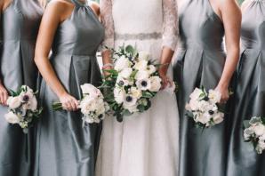 Bridesmaids in Gray Silk