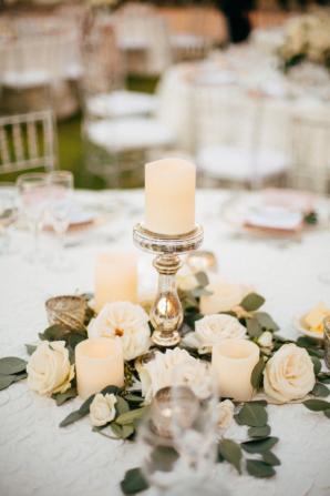 Centerpiece of Candles and Garden Roses