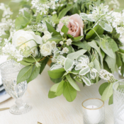 Centerpiece of Green and Ivory