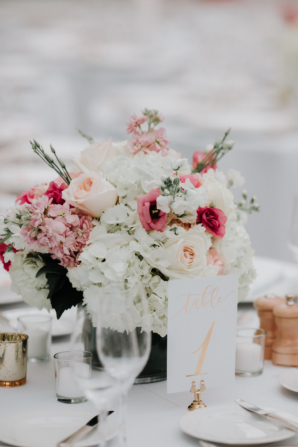 Centerpiece of Pink and White Blooms