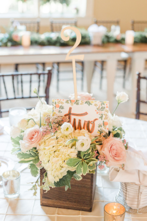 Centerpiece with Hand Lettered Table Number