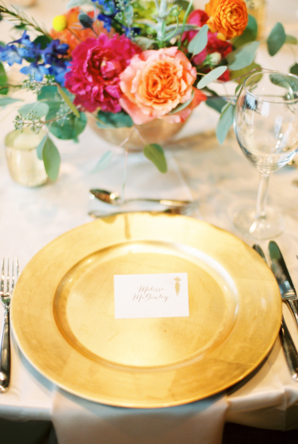 Colorful Contemporary Wedding Place Setting
