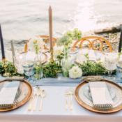 Copper Green Blue Beach Wedding Table