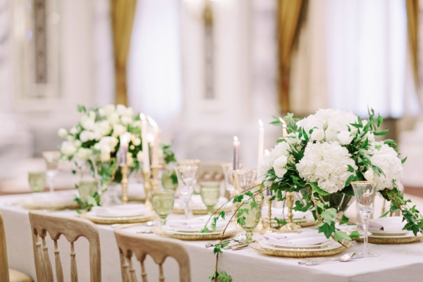 Elegant White and Gold Wedding Table