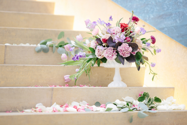 Flowers on Stairs for Wedding