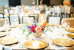 Gold Fuchsia and Orange Wedding Table
