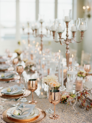 Gold and Coral Elegant Wedding Centerpiece