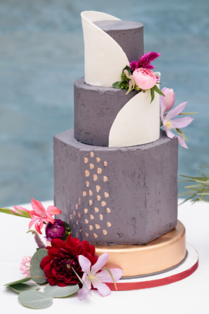Gold and Purple Wedding Cake
