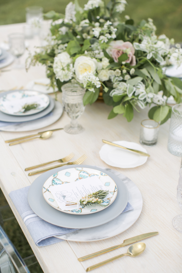 Gray Green Gold Rustic Wedding Place Setting