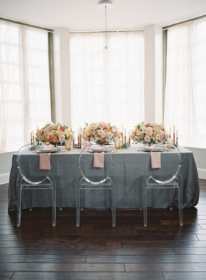 Gray and Pink Wedding Brunch Table