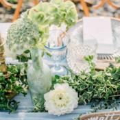 Green and Blue Beach Wedding Centerpiece