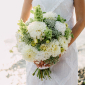 Green and Ivory Bouquet with Dahlias