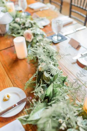 Greenery Garland on Wood Table