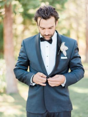 Groom in Blue Gray Suit