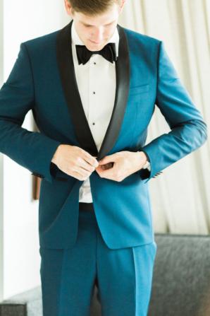 Groom in Hugo Boss Suit