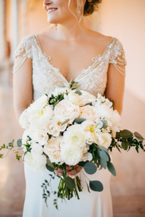Ivory Bouquet of Roses and Peonies