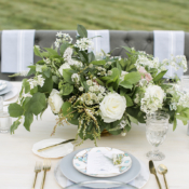 Ivory Gray and Green Rustic Wedding Table