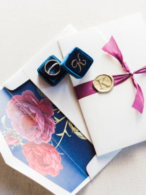 Magenta and Blue Wedding Invitations