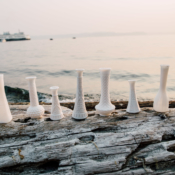 Milk Glass and Driftwood for Wedding