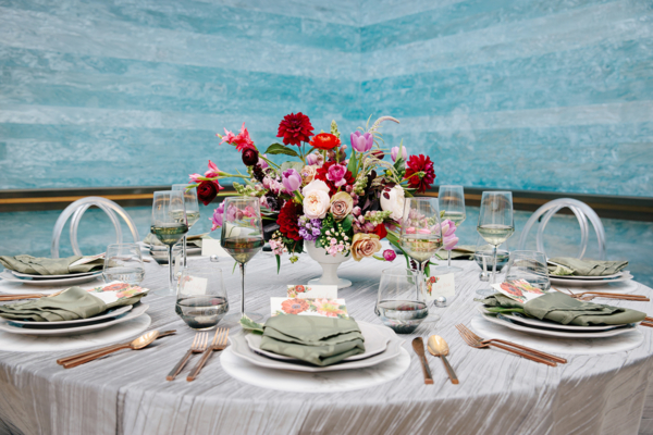 Modern Silver Purple and Red Wedding Table