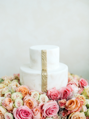 Modern Wedding Cake with Gold Leaf
