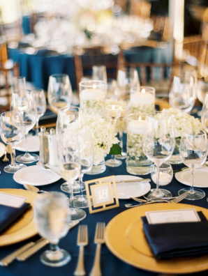 Navy Gold and White Wedding Table