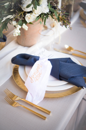 Navy and Gold Wedding Place Setting