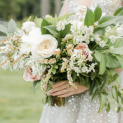 Organic Ivory and Green Bouquet