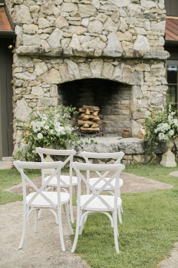 Outdoor Wedding Ceremony by Fireplace