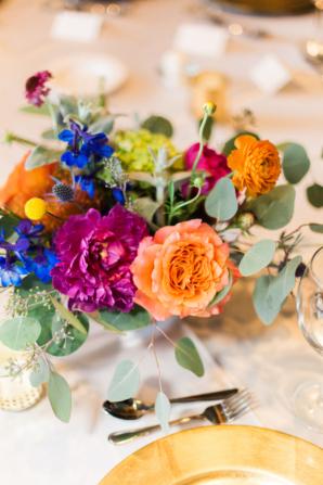 Peach Purple and Blue Wedding Flowers