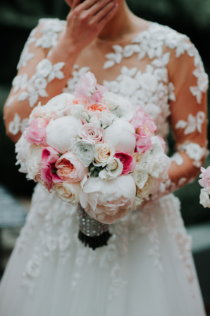 Peony and Rose Bouquet in Pink