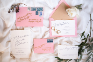 Pink Gold and Navy Wedding Invitations