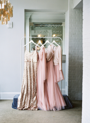 Pink and Gold Bridesmaids Dresses