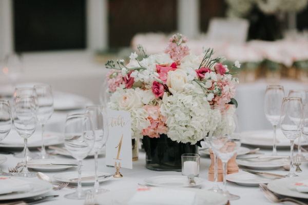 Pink and White Hydrangea and Rose Centerpiece