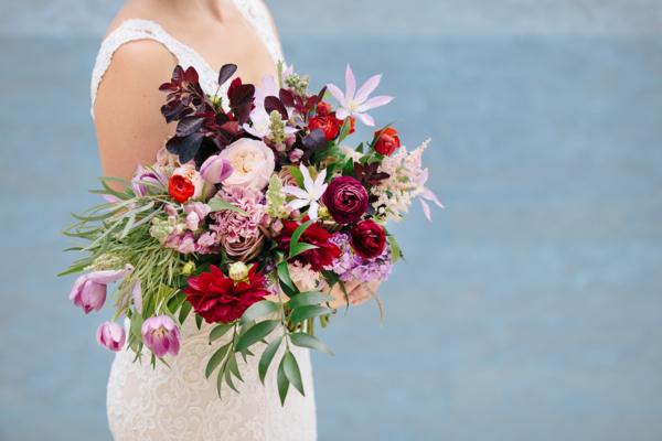 Purple Garnet Burgundy Bridal Bouquet