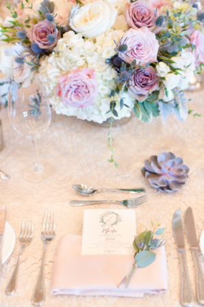 Purple and Ivory Wedding Centerpiece