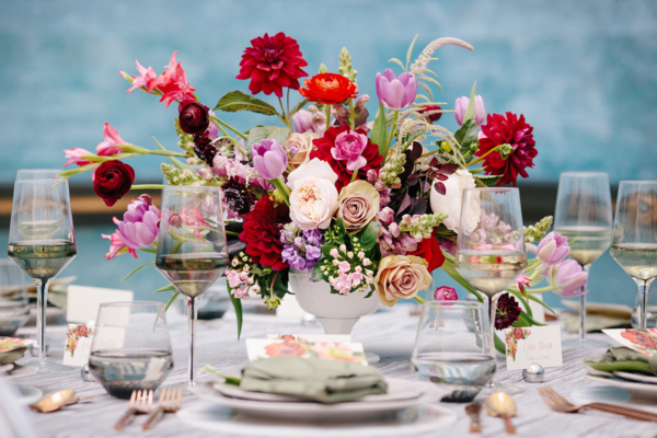 Purple and Red Centerpiece