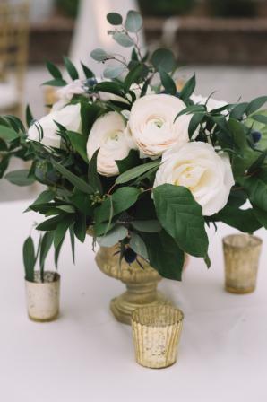 Ranunculus and Rose Centerpiece