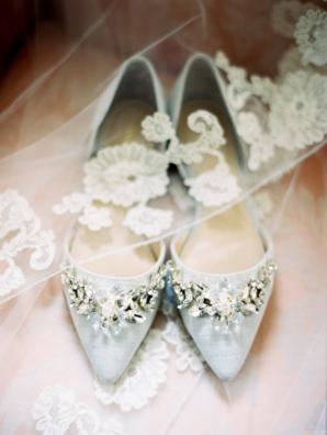 Silver Beaded Bridal Flats