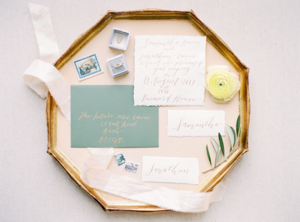 Teal and Gold Wedding Stationery