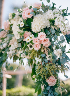 Wedding Arch with Pink and White Flowers