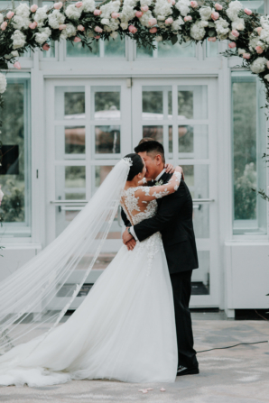Wedding Arch with Roses and Hydrangea
