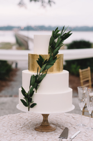 Wedding Cake with Gold Leaf and Greenery